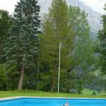 Pool and mountain scenery