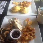 Salmon Benedict and Frittata with in house made marble rye