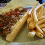 Six inch Cheesesteak with sweet peppers, onions an