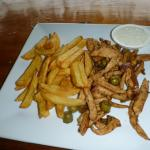 Stir fry chicken and chips