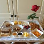 Breakfast tray. Guests may request room service for breakfast.