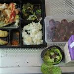 Japanese bento take out on the left we ate at the airport