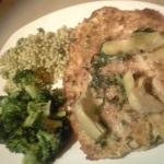 Pecan-crusted Trout w/broccoli and couscous... VERY good.