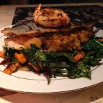 One of Chef Adam's nightly specials- crab stuffed trout with sauteed kale and roasted sweet pota
