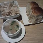 Dinner rolls, Wonton soup, Crispies