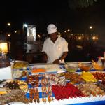 Food at the stall in Forodhani Gardens at night