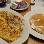 Ham & cheese  omelet & a big ole pancake