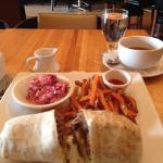 Steak wrap w/ sweet pot. Fries and slaw