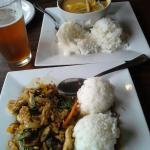 red curry with chicken, pad hot basil with chicken, rusty truck IPA