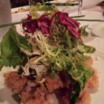 Warm escarole salad with crispi calamari.