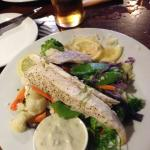 Grilled Trevalla with steamed vegetables and tartare sauce
