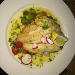 Cod fish w lemon butter chives and mixed vegetables.