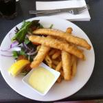 Flathead tails, chips and salad
