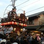 One of the floats along the street near Yasaka Temple, which will move on to the riverside