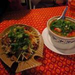 Crispy chicken salad and Tom Yam