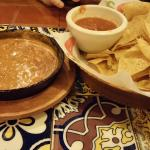 Salsa and queso with chips...yum!