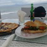 Pizza and steak sub