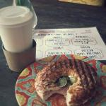 Try our bagel- on fridays you can get a 16 oz Cappuccino and a bagel for 50 pesos :D