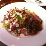 Onlget (Hanger Steak) & Radicchio, Jerusalem Artichoke & Shaved Parmesan Salad