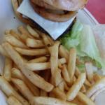 Mushroom swiss and onion burger