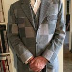 Patchwork fabric suit