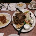 Gyro platter. Not pictured but included with the meal price: soup, salad, and dessert.