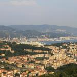View from the B&B over La Spezia and Poets bay at day