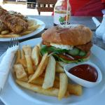 Chicken burger and fish and chips