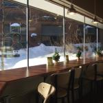 The lunch counter at 5th & Elm on a sunny January day. Additional patio seating is available in