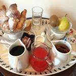 Delicious breakfast spread! You get coffee or hot chocolate!