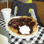 A pancake with chocolate syrup.  Thank you Mountain Lyon!