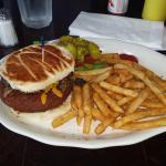 Veggie burger.. Fries pickle and salad on side!