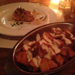 Patatas Bravas and Glazed Salmon