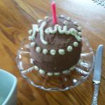 My birthday cake made by Cheryl which awaited for my arrival. .  Yummy!