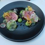Seared tuna with yuzu, radish and cucumber