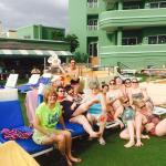 Our bunch chilling by the pool sipping on cocktails!