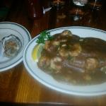 Oysters on Half Shell (left)/Catfish Smothered w/Shrimp Etoufee (right)