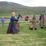 A viking family having fun.