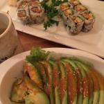 Avocado salad, and yellowtail roll. And spicy crawfish roll.