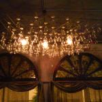 Pretty chandeliers are made of wine glasses