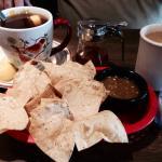 A warm start @ Nellie's with huge mug of hot tea w/lemons, wonderful coffee & tortilla chips to