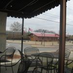Train depot across street from indoor dining