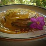 Mascarpone Lime Pancakes w/ Lilikoi Curd and Toasted Coconut shavings