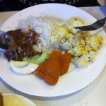 Nasi Lemak with Scrambled Egg and Nuggets