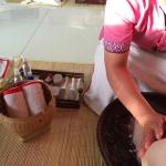 Foot bath - part of the 15 min ritual before you begin your 90 min body massage