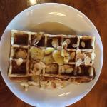 Breakfast buffet - waffles with maple syrup and almond flakes - my fav for 3 consec breakfast wh
