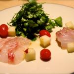 Red snapper sashimi with white peach
