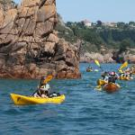 Kayaking out of St Brelades bay along the south coast