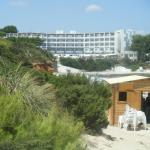 View of the hotel from outside of beach
