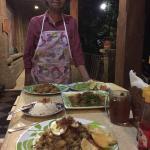 Ibu Putu herself and her amazing meal.